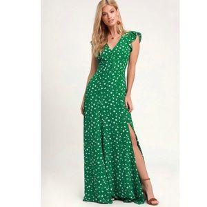 Lulus Green Floral Print Backless Maxi Dress